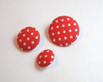 Fabric button with polka dots 28 mm
