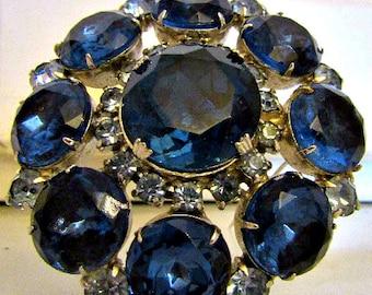 HUGE  And FABULOUS Dark Blue Rhinestone Pin