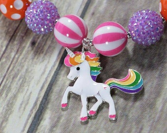 Rhinestone Rainbow Unicorn Bubblegum Necklace, Girls Unicorn Necklace, Unicorn Birthday Jewelry, Unicorn Cake Smash, Girls Gift, Birthday