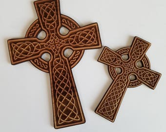 Alder Wood Celtic Style Cross Cut Outs  ( Home Decor, Wall Decor, Christmas Gift )