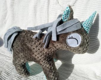 Gray Turquoise Unicorn Polka Dot Furry Pony Stuffed Animal Birthday Gift