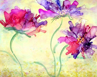 Feminine Art Gift, Affordable Wall Art, Floral Painting, Flower Art Work, Alcohol Ink Painting, Giclee Art Print, Abstract Floral