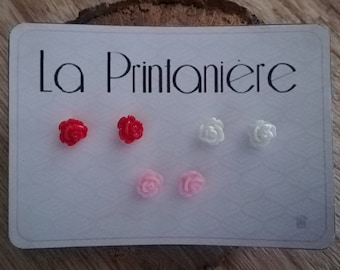 Set of 3 pairs of earring studs/posts