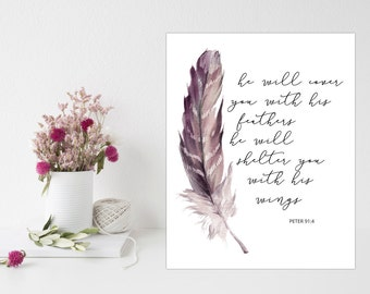 Psalm 91:4, He Will Cover, Feather Wall Art, Feather Printable, Feather Print, Feather Artwork, Feather Wall Decor, Bible Verse Wall Decor
