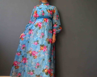 70s Sky Blue Multi Color Floral Maxi  Dress Small