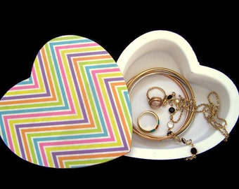 Heart Jewellery Box with Swivel Lid - Decoupage Jewellery Box - Multi-Coloured Chevron Trinket Box
