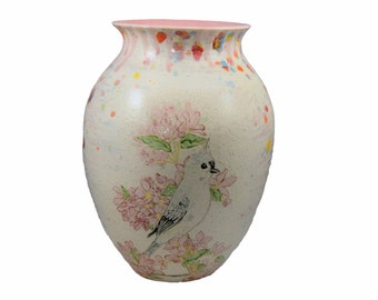 Handmade Tufted Titmouse Bird and Pink Blossoms Vase