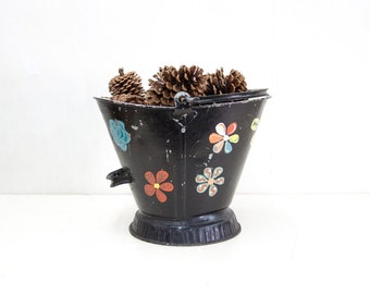 English Black Painted Coal Bucket with Painted Flowers