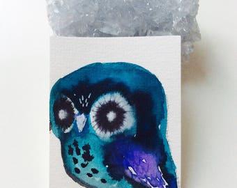 Blue Owl mini painting - Watercolor owl, owl miniature, original painting, animal watercolor, illustration, owl spirit animal, sweet