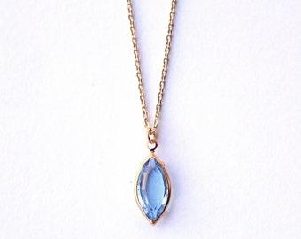Necklace Vintage Navette, aqua