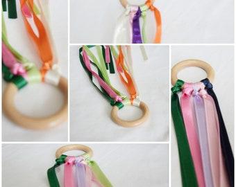 Hand kite set -  five hand kites - hand kite - ring kite - ring kite set - waldorf toy - toddler toy - outdoor toy - ribbon hand kite