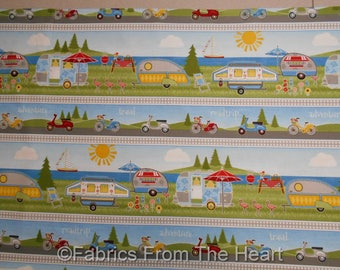 Camping Lets go Glamping Tear Drop Campers Borders BY YARDS Wilmington Fabric