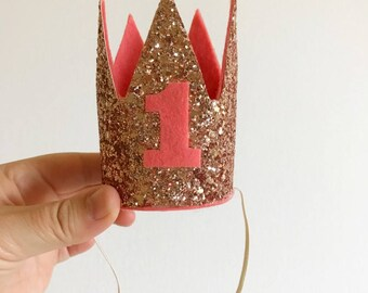 SALE - Rose Gold and Pink Birthday Crown - Cake Smash Crown - Crown Headband - Birthday Crown - First Birthday - Child Birthday