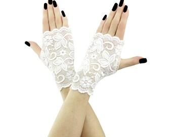 bridal gloves lace gloves wedding gloves fingerless gloves mittens white mittens short mittens gloves fabric formal gloves lace white 2185