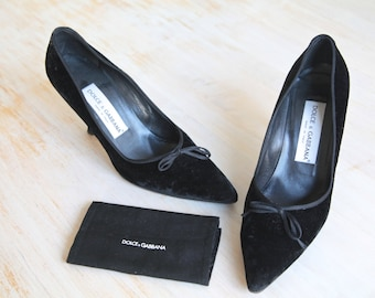 Dolce & Gabbana Black Velvet and Satin Pumps With Bows Size 37 1/2