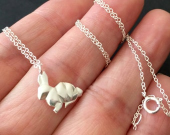 Origami Bunny, Sterling Silver Rabbit Bunny Necklace Pendant, bunny necklace, rabbit necklace, silver necklace, simple necklace
