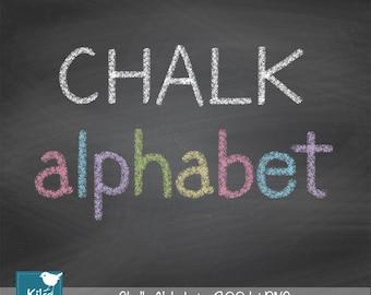 Hand Drawn Chalk Alphabet - Digital Clipart / Scrapbooking colorful - card design, invitations, web design - INSTANT DOWNLOAD
