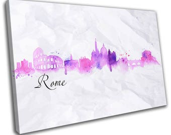Watercolour Rome Skyline Cityscape Canvas Print Home Decor- Abstract Wall Art - Modern Prints - Ready To Hang