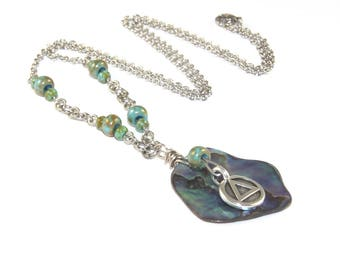 Paua Shell & Stainless Steel Chain, 12 Step Recovery Necklace - Sobriety Gift