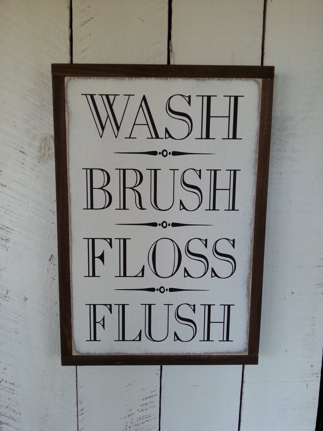 Wash Brush Floss Flush Sign   Bathroom Sign   Farmhouse Decor   Rustic Bathroom  Decor   Home Decor   Bathroom Signs   Childrens Signs