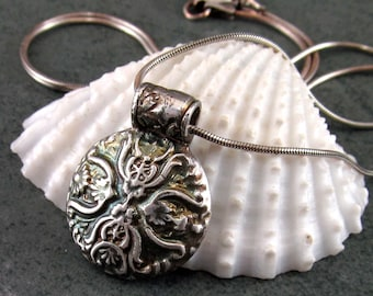 Fine silver antique button pendant, handmade recycled fine silver Victorian cross necklace-OOAK
