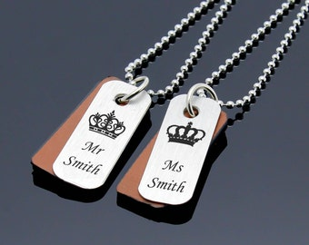 Mr and Mrs, Personalized Couples Necklace, Custom Matching Necklace, Mens Womens Necklace, Couples Jewelry, Couples Gift, His Hers Necklace