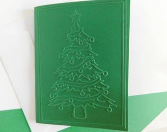 Christmas Tree Card, embossed Christmas Card, Embossed Holiday Tree Greeting card, Blank Christmas Tree Card, Embossed note card