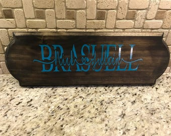 Last name wood stained sign