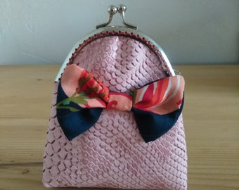 Handmade coin purse pink bow tie