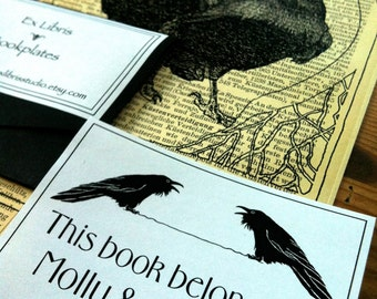 Booklovers Wedding Gift Booklabels Two Ravens Ex Libris 15 Personalized Bookplates