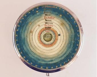 La Sphere Du Monde Pill Box Case Pillbox Holder Trinket Stash Box French Astronomy Mathematics