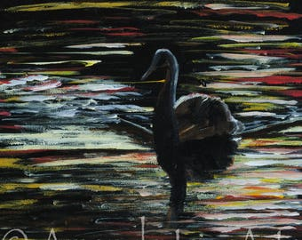 Swan at dusk, original painting, picture, art, ptint,acrylic, abstract,gift
