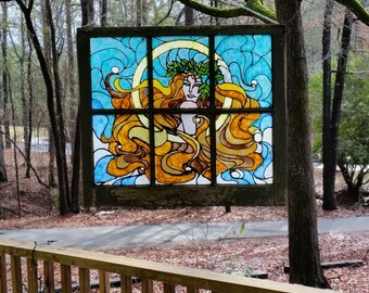Repurposed Window,  Original Art Nouveau Painted Glass, Vintage Window, Patio Decor, Window Art, One Of a Kind Folk Art