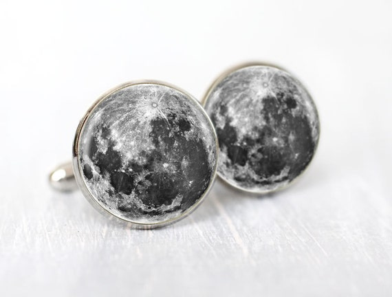 Space Men cufflinks - Full moon Cuff links for him - Galaxy, Astronomy