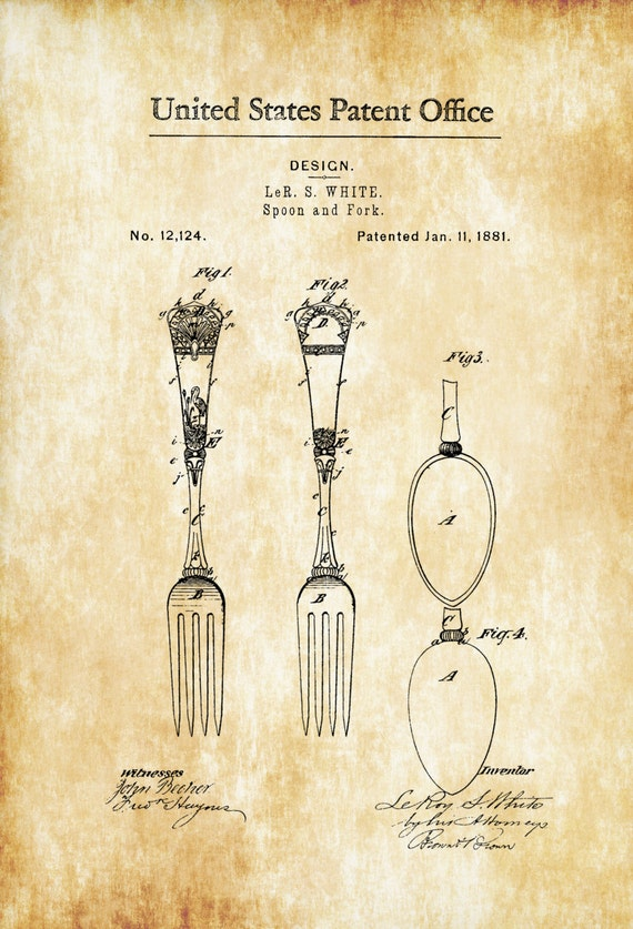 1881 Victorian Spoon and Fork Patent Kitchen Decor
