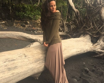 Organic eco friendly clothing, long sleeve cowl top off the shoulder shrug