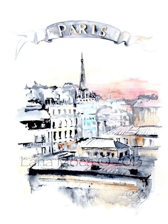Unique Parisian Rooftops Watercolor Painting Paris Illustration CV59