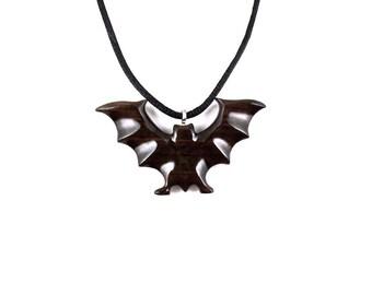 Bat Necklace, Bat Pendant, Bat Jewelry, Hand Carved Wooden Bat Necklace, Bat Totem Jewelry, Spirit Animal Wood Necklace, Gothic Jewelry