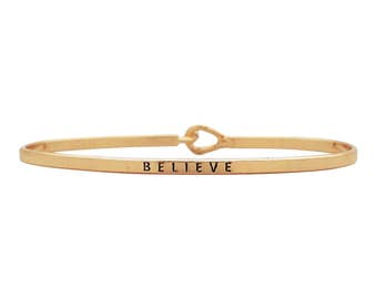 Believe - Engraved bracelet, gift for her, stacking bangles, boho jewelry, thin bangle, layering, gift for wife, friendship