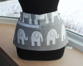 Vendor Apron Server Apron Cash Apron Travel Apron Gray White Elephant Cotton Twill