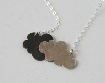 Cloudy Day Silver and Black Cloud Necklace, Silver and Black Jewelry, Cloud Jewelry, Two Clouds, Handmade Jewelry, Modern Necklace, Silver