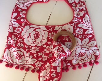 Red floral  Baby Bib with pom poms minky  and Teething Ring Organic maple hardwood baby girl nursery shower gift new baby