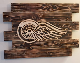 Detroit Red Wings wood sign