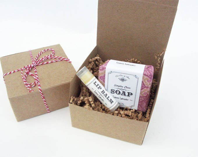 Lemon Lavender Gift Set: Handmade Soap & Organic Lip Balm