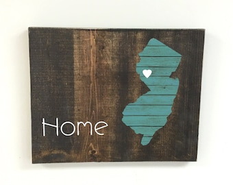 home sign, wooden state sign, rustic state sign, reclaimed wood, wedding gift, New Jersey sign, home state sign, wedding sign, rustic sign