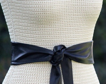 Leather Simple Sash - Wrap Belt - XS S M L XL - 3 inch wide lambskin - custom made - choice of color - brown, black, navy, camel, taupe
