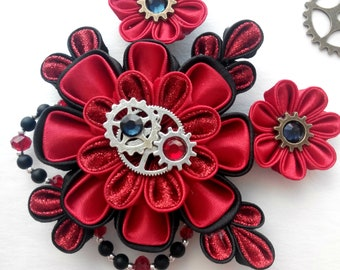 Red Black Steampunk/Black hair accessories/Kanzashi flower/Fabric flower hair clip/ Steampunk Flowers Fascinator/Steampunk hair clips
