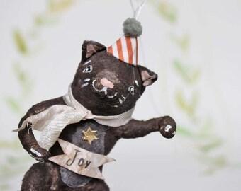 Schwarze Katze mit Partyhut Nostalgischer Christbaumschmuck Wattefigur Zirkus Ornament Spun Cotton
