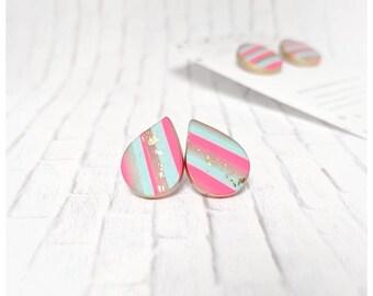 Blue and pink earring polymer clay jewelry stripe earrings nickel free earrings lightweight earrings teardrop pink and blue earrings