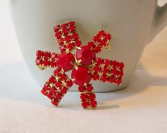Vintage Red Brooch, Red Vintage Jewelry